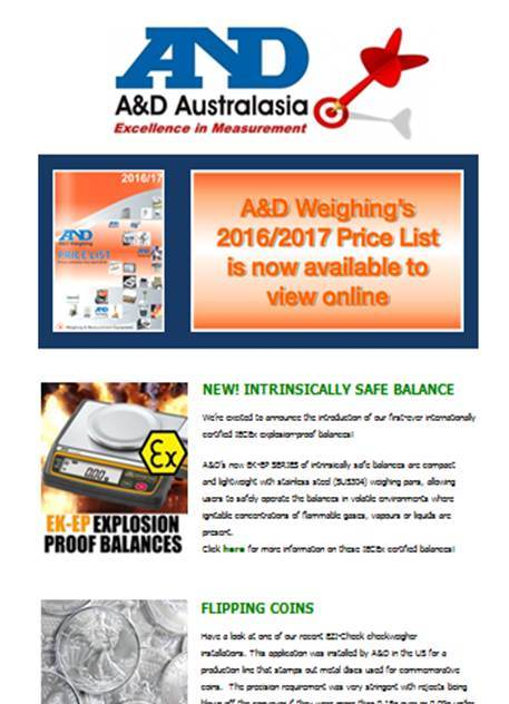 A&D Weighing Newsletter March 2016