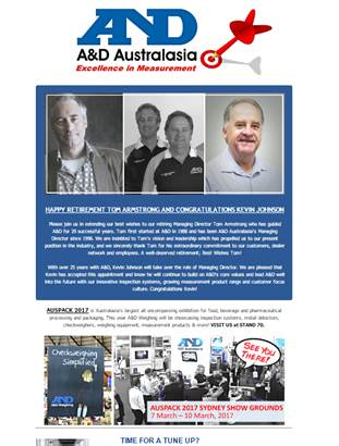 A&D Weighing Newsletter March 2017