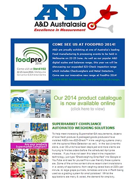 A&D Weighing Newsletter March 2014