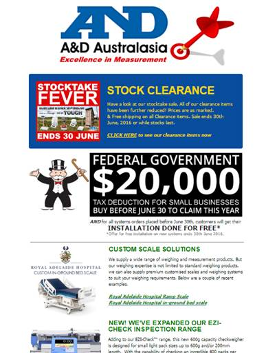 A&D Weighing Newsletter May 2016