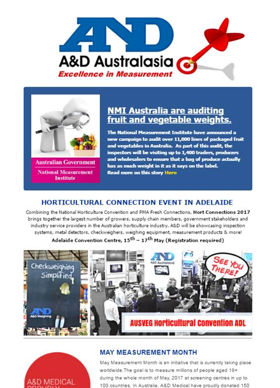 A&D Weighing Newsletter May 2017